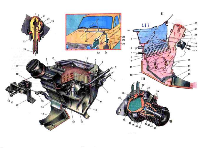 Отопление и вентеляция салона, омыватели стёкол1.  Воздухопровод; 2. Крышка воздухопритока; 3. Радиатор; 4...